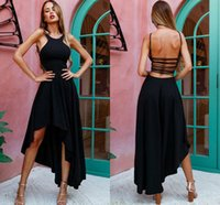 Wholesale hi lo dress fast shipping resale online - Fashion Black High Low Prom Dresses Spaghetti Straps Satin Backless Sexy Evening Dresses Cheap Party Dress Fast Shipping