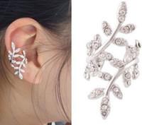 Wholesale golden ear cuffs - Charm Lady Ear Cuff 2015 Fashion Plum Blossom Leaf Shap Rhinestone Earrings For Women Big Girls Ear Ornament Jewelry Golden Silver I3988