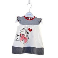 Wholesale Dog Girl Clothing - 2015 New Spring Lovely cartoon polka dot dog dress for children's summer dresses girls clothes B001