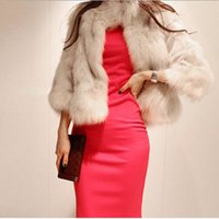 Wholesale White Elegant Cardigans - Jaqueta Feminina Female New Style Elegant Casual Gorgeous Short White Fox Fur Coat Women Autumn Winter Cardigan Fur Jacket V579