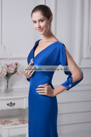 Wholesale Brush Brooch - Royal Blue Elastic Satin A Line V Neck Backless Sweep Train Brush Train3 4 Long Sleeve Evening Dresses