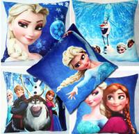 Wholesale Children Cushion Cover Cartoon - 5 colors Frozen Pillow 45*45cm children Anna elsa olaf Printed suede Cartoon Cushion Cover 15 pcs lot