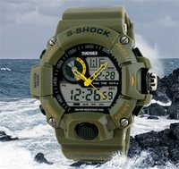 Wholesale glass swimming - TOP SKMEI SK1029 men's GMT dual display watch, analog digital relogio waterproof swim wristwatch, led military watch, gift watch for men