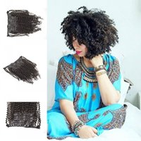 Wholesale Curly Kinky Hair Beautiful - Beautiful afro kinky curly hair virgin Cambodian hair clips Ins 7pcs set black clip in hair extensions real human hair 120g set