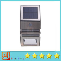Wholesale Solar Lights For Steps - Silver Solar-powered Light with 2pcs SMD LEDs Polycrystalline Solar Panel PIR Sensor for Pathway Outdoor Stair Step Garden Yard H11082