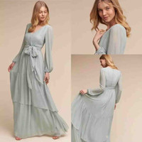 Wholesale Flare Dress Cheap - 2018 Modest BHLDN Chiffon Bridesmaid Dresses with Long Sleeves Bohemian Flare Flowing V-neck Junior Wedding Guest Party Gowns Cheap