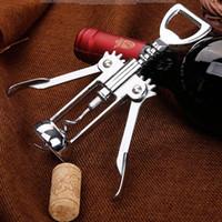 Wholesale Pressure Tools - Stainless Steel Wine Bottle Opener Handle Pressure Corkscrew Red Wine Opener Kitchen Accessory Bar Tool Wing Corkscrew Opener WX9-117