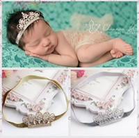 Wholesale Wholesale Diamond Barrette - Crown Baby Headbands Cute Korean Luxury Shine Diamond Tiaras For Girls Birthday Hair Bands Boutique Children Hair Accessories H080