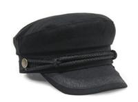 Wholesale Navy Sailor Cap - Fashion hat Cotton Military Hat Wool Navy Captain Cap Flat Top Sun Visors Black Grey Red Brown White For Men Women