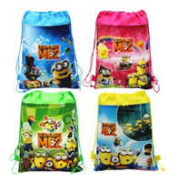Wholesale Despicable Backpack School - HOT SALE!! Despicable Me Drawstring Backpack Handbags Children's Cartoon School Bags Kids' Shopping Bags Present Gift 6 Colors