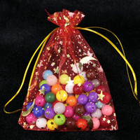 100pcs / lot 9x12cm Black Moon Star Organza Bag Small Wedding Candy Presentes Jóias Embalagem Saco Cute Drawstring Gift Bags Bolsas