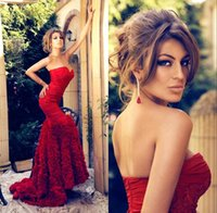 Wholesale beaded strapless court train dress for sale - Group buy Sexy Strapless Red Evening Dresses Tiered Pleats Lace Appliqued Beaded Mermaid Evening Formal Party Dresses Prom Pageant Gowns BA1546