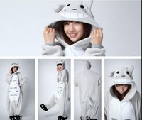 Wholesale Chinchilla Size - Cartoon TOTORO plus size jumpsuits Chinchilla costume Animal Pyjamas Costume Coral Fleece Animal Sleepwear adult onesies