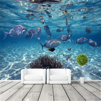 Wholesale Underwater Fish Photos - Custom Photo Wallpaper 3D Stereoscopic Underwater World of Marine Fish Children's room Bedroom TV background 3D Mural wallpaper Free ship