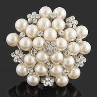 ingrosso spilla del rhinestone del cluster della perla-Avorio finto perla cluster e trasparente strass cristallo grande corpetto nuziale bouquet spilla spilla per matrimoni