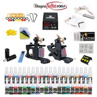Komplette Tattoo Kit 2 Maschinengewehre 40 Ink Geräte Needles Power Supply