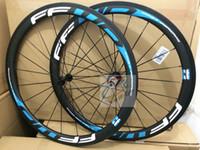 mavi karbonlu yol bisiklet tekerlekleri toptan satış-2019 sticker ffwd f4r beyaz mavi tam karbon fiber 38mm yol karbon bisiklet tekerlek 3 k kattığı 11 hız bisiklet tekerlekleri ücretsiz kargo