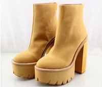 Wholesale Thick Sole Platform Boots - Original Quality Jeffrey Campbell Boots Platform Thick Sole Ankle Boots Genuine Leather Round Toe Zipper Jeffrey Campbell Ankle Boots