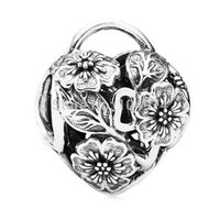 Wholesale 925 Silver Floral - Hot Sale Wholesale Floral Heart Padlock Charm 925 Sterling Silver European Charm Bead Fit Pandora Snake Chain Bracelet Fashion DIY Jewelry