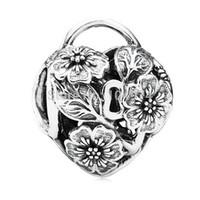 Wholesale Flower Glasses Fashion - Hot Sale Wholesale Floral Heart Padlock Charm 925 Sterling Silver European Charm Bead Fit Pandora Snake Chain Bracelet Fashion DIY Jewelry