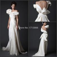 Wholesale Satin One Shoulder Wedding Dress - 2016 New Desin Fashion Custom made Bridal dresses Mermaid One shoulder Knot Satin Sweep strain Wedding gowns Free shipping
