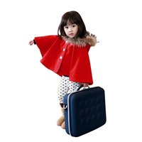 Wholesale Baby Girl Red Fur Coat - Wholesale-Girls Fur Collar Trench Coat Winter New 2015 Autumn Fashion Red And Navy Coat Baby Girl Suit 2~13 Age Baby Cloak Cape GA-54W004