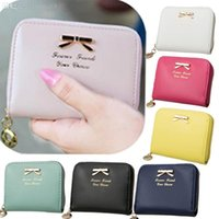 Wholesale Collector Coin Holders - Wholesale-2015 High-Quality Colorful Bowknot Pendant PU Leather Wallet Coins Holder Collector Purse Wallet XB9050