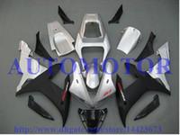 peças de carenagem de motocicleta yamaha venda por atacado-Kit de carenagem de injeção para YAMAHA YZF R1 2002 2003 YZF1000 prata preto YZF-R1 02 03 peças de carenagem da motocicleta # 76CC