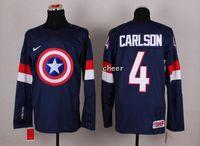 kaptan amerika hokeyi toptan satış-30 Takımlar-Toptan 2015 Yeni Toptan erkek # 4 Carlson Mavi / Beyaz Kaptan Amerika Moda Buz Hokeyi Formaları