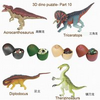 Wholesale 3d Egg Puzzle - Wholesale-free shipping 4pcs 3D dinosaurs puzzle egg 7266-10. educational toy kadis animal toys