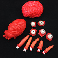 Wholesale Human Eyeball - Scary Bleeding Human Organs Halloween Party Decorations Broken Fingers Bloody Eyeballs Red Heart Bloody Brain free shipping