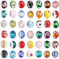 Wholesale Large Necklace Beads - 2015 New Glass Beads Charms pretty European Murano Glass Biagi Large Big Hole Rroll Beads Fit For Charm Bracelets&Necklace Mix Color