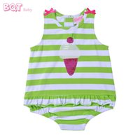 Wholesale-BQT-Baby Diamante Pailletten Print Trendy Stripe Babybekleidung 0-12 Monate Elastic Bodysuit Bow Cartes Baby Girl