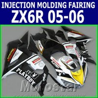 Wholesale Kawasaki Zx6r Fairings Playboy - 100% Injection molding fairing kit for Kawasaki ZX6R 2005 2006 ZX636 black white PLAYBOY motorcycle fairings Ninja 636 ZX-6R 05 06 GH27