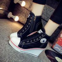 schnüren sich oben keilschuhe frauen großhandel-Großhandels-muss Plusgröße 35-42 Segeltuch-Schuh-Frauen-Keil-Höhe erhöhen Schuhe Zip Lace up 8cm Höhe haben Plattform beiläufige zapatos mujer