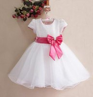 Wholesale knee length dresses for sale resale online - Hot Sale White Formal dress for Girls Kids Party Dress With Pink Bow Elegant Top Qulity Princess Clothing GD11116 W