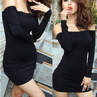 Neue Womens Off Schulter Stretch Tunika Tight Fitted Clubwear Party Sexy Mini Kleid Schwarz 22