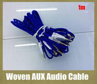 Wholesale Metal Jack Plug - woven audio cable AUX round stereo audio cord fit 3.5mm jack with metal port 1m plug to plug suitable for samsung iphone LG car CAB039