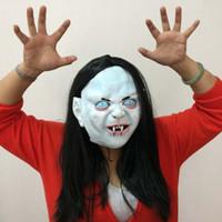 Wholesale Long Siren - Halloween Mask Horror Ghost Masks Zhen Son Latex Mask Black Long Hair Terrorist Siren Head Mask Scary Halloween Party dress free shipping
