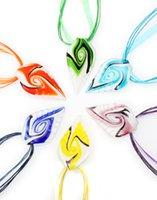murano moda cam kolye kolye toptan satış-2016 Yeni Moda El Yapımı Helix Yaprak Beyaz Alt Murano Cam kolye kolye El Yapımı Takı Toptan Lots Renkli 6 adet Mix Renk