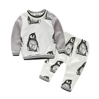 Wholesale American Apparel Trousers - 2016 Boys Kids Clothes Sets Cotton Penguin Outwear Suits Kids Clothing Trouser Suit Leggings Harem Pants Outfits Two Piece Set Apparel