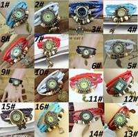 vintage bracelet watch deri kızlar toptan satış-20 türleri Vintage 8 renk mevcut kolye Kuvars Bilezik Bileklik Retro Güzel Bayan Kız Örgü Wrap Etrafında Deri Izle Mevcut Kaynağı