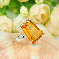 Cheap Wholesale 2pcs / lot Trapezoidal Citrine Gemstone .925 Sterling Silver Flower Ring México American Australia Weddings Jewelry Gift