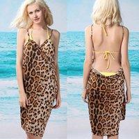Wholesale Dress Beach Sarong Bikini - Women Leopard Cover Ups Sexy Swim Bathing Suit Sarong Summer Bikini Beach Wear Wrap Pareo Dress Tunic Backless Dress Summer 2943