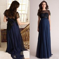 Wholesale Purple Evening Dresses For Pregnant - 2015 Empire Black and Navy Blue Evening Gown Long Formal Prom Party Dresses for Maternity Short Lace Sleeves Pregnant Celebrity Red Carpet