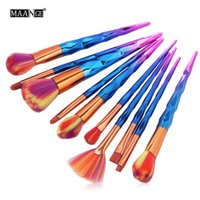 ingrosso forma diamante colorato-10pcs Diamond Shape Makeup Brush Set Colorful capelli in polvere contorno correttore fard ombretto labbra Make Up bellezza arcobaleno pennelli