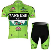 Wholesale Cycling Jersey Farnese - Green FARNESE Cycling Jersey Short-sleeved Suit Jacket Breathable Quick-drying Polyester Cycling Clothes & 3D Lycra Shorts