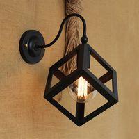 lámpara de jaula de hierro negro al por mayor-Vintage Negro Metal Pequeña Caja de Hierro Lámpara de Pared Lámpara de Luz Edison lámpara para pájaros jaula Iluminación de Pared Iluminación Loft