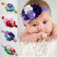 Wholesale Sequin Diamond Hair - 2017 Baby Flowers Headband Hair Bands headwear Children sell hair embroidery sequins bows children Hair 7 color spot Rhinestones Diamond