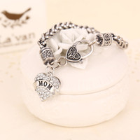 Wholesale free hot mom - 2017 MOM SISTER MIMI NANA Family Member Fashion Heart Women Bracelet Top Quality Hot sterling silver jewelry Free shipping ZJ-0903327